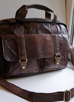 Шкіряна чоловіча сумка для ноутбука. нова. мужской кожанный портфель.