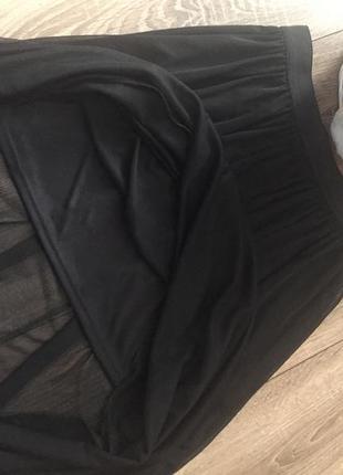 Юбка в тренде,чёрная,прозрачный низ