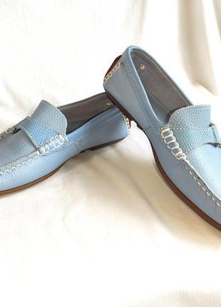 Мокасины женские кожаные голубые moshulu