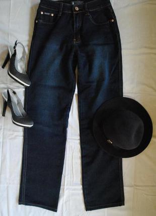 Классические прямые темно-синие джинсы