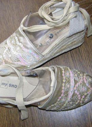 39 р - 25,2 см стильные босоножки еспадрильи хлопковые от my shoes
