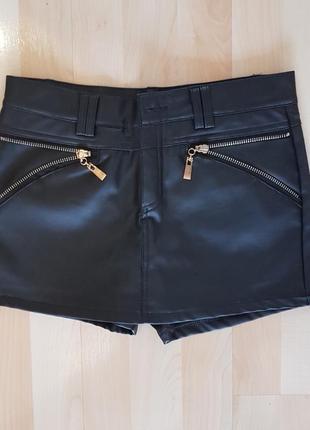 Кожаные шорты-юбка