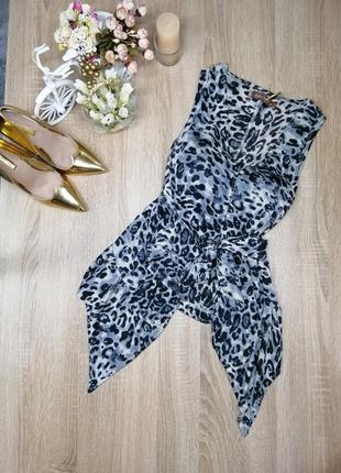 Новая осенняя блуза кофта накидка в леопардовый принт с поясом s m с биркой