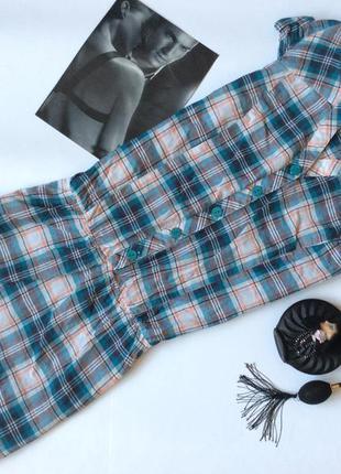 Стильное клетчатое платье рубашка gloria jeans размер s