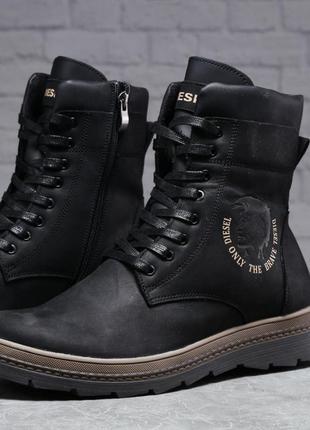 Новые актуальные зимние мужские ботинки черного цвета на меху diesel modern