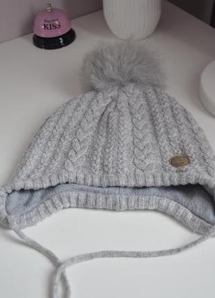 Детская зимняя шапка, натуральный помпон