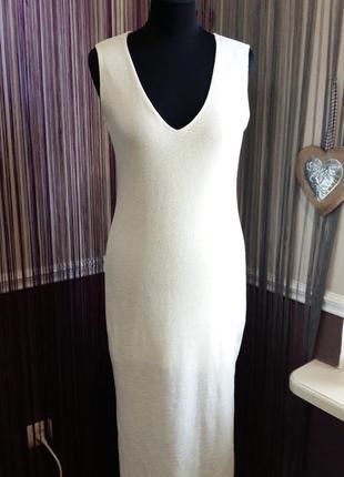 Красивое летнее платье молочного цвета  zara