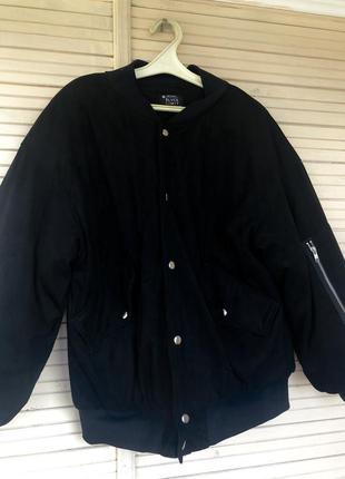 Замшевая куртка с объемными рукавами