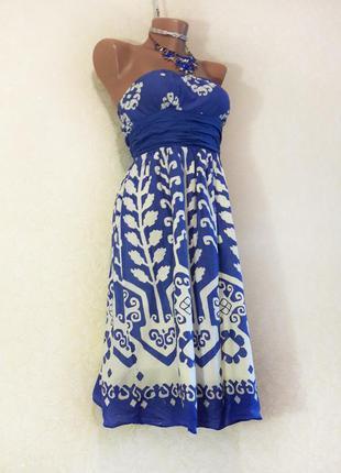 Синее летнее легкое хлопковое платье бюстье