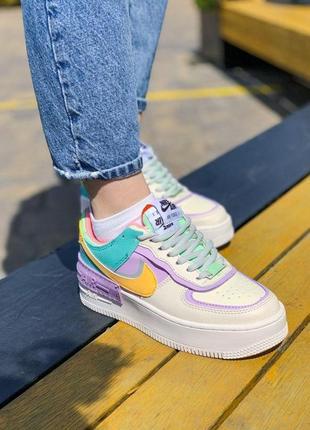 Nike air force shadow white женские кроссовки найк еир форс белые