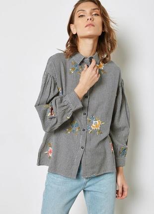 Рубашка с вышивкой принт гусиная лапка