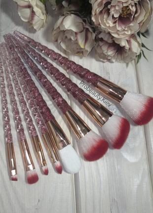 8 шт набор кисти для макияжа red/gold единорог прозрачные с шиммером probeauty