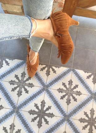 Туфельки осенние из натурального замша в размере 37(24,5)