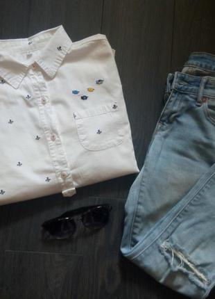 Рубашка блуза белая с якорями