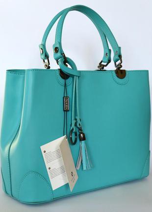 Летняя итальянская кожаная сумка бирюзового цвета от vera pelle, италия