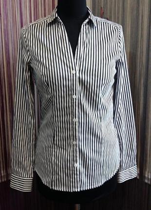 Красивая бело черная полосатая рубашка h&m