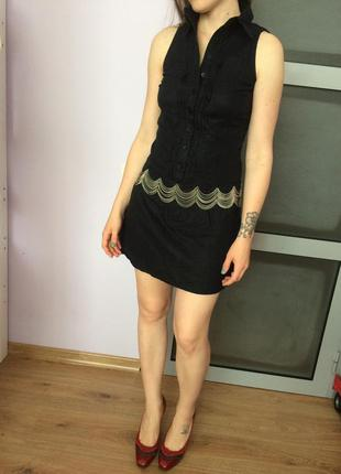 Оригинальное чёрное коктейльное платье waggon (возможно, выпускное)