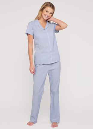 Хлопковая пижама c&a рубашка брюки штаны s пижамка качественная