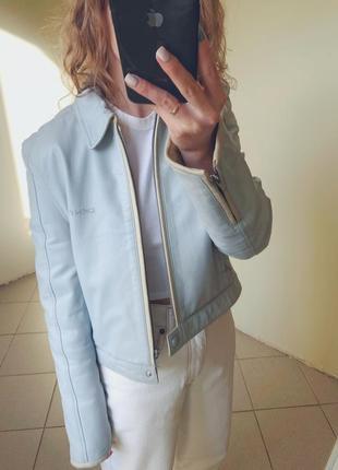 Люкс бренд оригинал натуральная кожа голубая кожаная куртка dkny