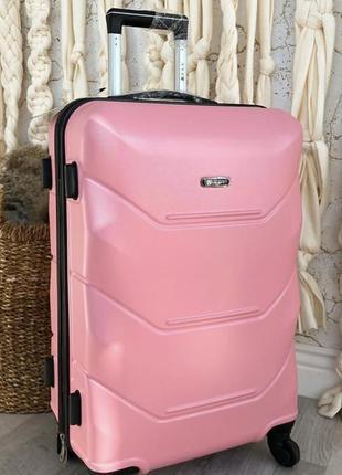 Уценка! чемодан пластиковый большой fly на 4-х колесах светло-розовый
