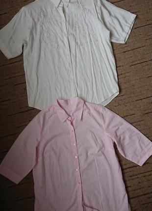 Рубашка повседневная /в офис (германия), рукав 3/4, нежно-розовая р.l-xl
