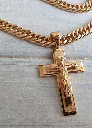 Набор большой крест с цепочкой xuping. позолота18к, медицинское золото