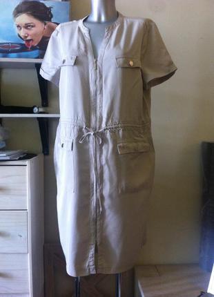 Универсальное песочное миди платье рубашка жилет 10-12-14+ от debenhams вискоза