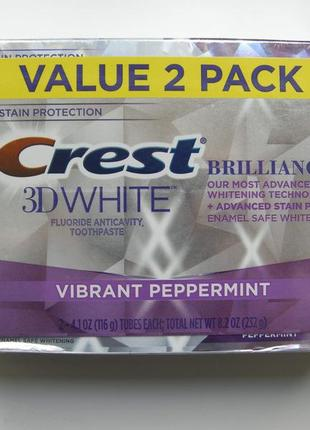 Зубная паста crest 3d white brilliance vibrant peppermint whitening toothpaste