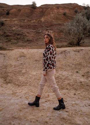 Костюм вязаный леопардовый принт