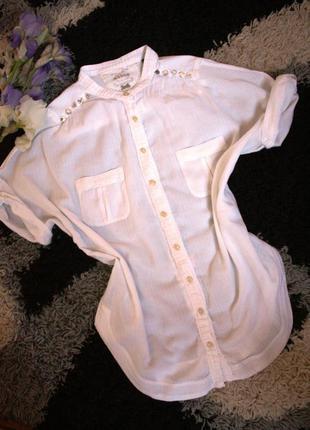 Стильная рубашка блуза с коротким рукавом mango