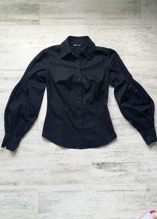 Модная черная блузка-рубашка рукав фонарик