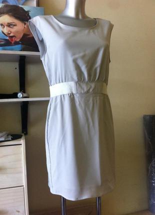 Новое стильное серое серебристое платье на подкладке 10-12 amisu