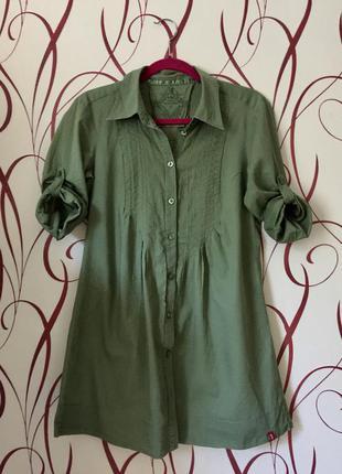 Удлинённая летняя рубашка из тончайшего хлопка