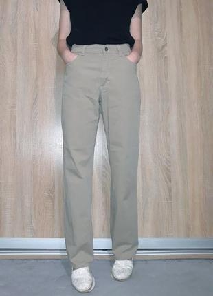 Винтажные коттоновые прямые джинсы mom wide leg бежевого цвета на высокой посадке angel