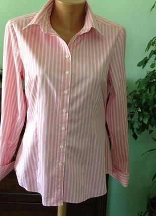 Офисная рубашка в нежную розовую  полоску. / l/brend charles