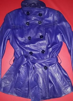 Куртка кожанная с баской с поясом