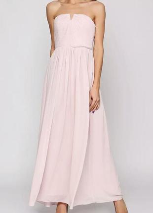 Пудровое вечернее платье h&m в пол. размер м.