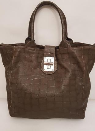 Бесподобная сумка итальянского бренда borse in pelle фактурная кожа