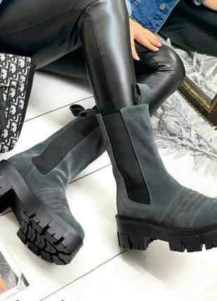 Рр 36-40 осень(зима) натуральный замш ботинки