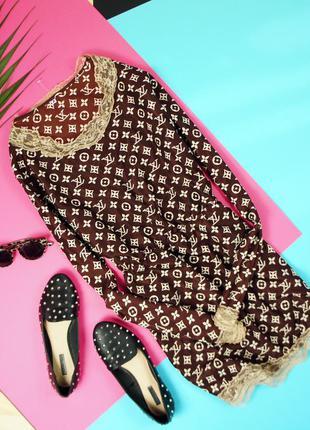 Стильное платье в стиле луи виттон с гипюром!