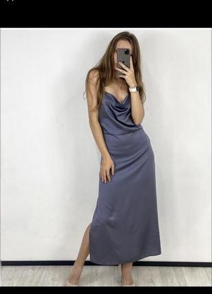 Новое платье шелковое комбинация синее голубое джинсовое джинс шёлк
