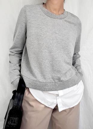 Джемпер серый с пришитой рубашкой белой noisy may