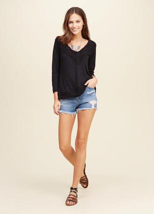 Hollister кофточка с кружевом оригинал блуза черная