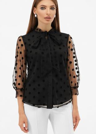Блуза шифон, рукав-фонарик