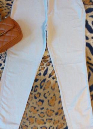 Белые летние льнение брюки