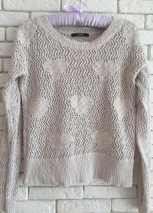 Стильный нюдовый котоновый свитерок с люрексовой нитью