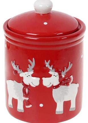 Банка керамическая  600мл  красная новогодняя