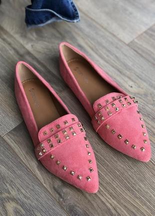 Терракотовые туфли розовые лофер/наложка5 фото