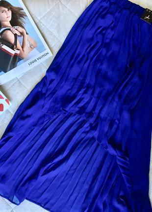 Юбка плиссированная синяя в складку разной длины