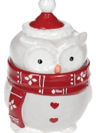 Банка керамическая новогодняя сова  1100мл, красный шарфик